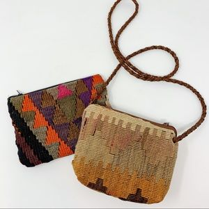 VTG Pair of 2 Hand Woven Turkish Kilim Bags